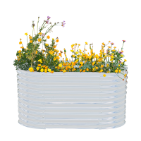 Powertec Garden Stahl Oval Hochbeet - Silber
